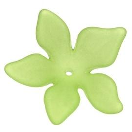 Lucite Plumeria Flower Beads Matte Spring Green 26mm (6)
