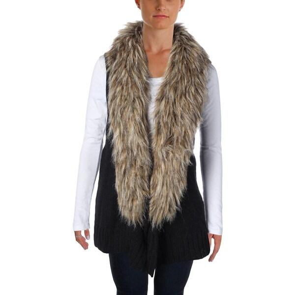 BB Dakota Womens Casual Vest Faux Fur Knit