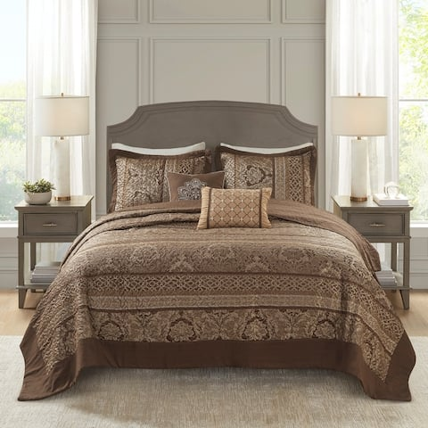 Madison Park Venetian Brown/ Gold 5 Pieces Oversized Jacquard Bedspread Set
