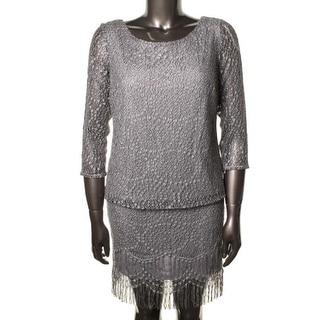 SL Fashions Womens Cocktail Dress Metallic 3/4 Sleeves