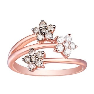 Prism Jewel G-H/SI1 Brown Diamond & Natural Diamond Tree Open Flower Cluster Ring - White G-H