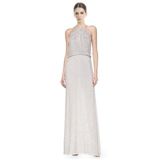 Parker Lita Sequined Halter Blouson Evening Gown Dress - 12