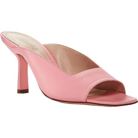 Schutz Womens Agape Open-Toe Heels Leather Square Toe