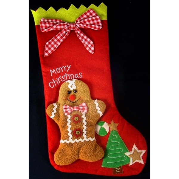"17"" Gingerbread Kisses Festive Red Gingham Striped Merry Christmas Stocking"