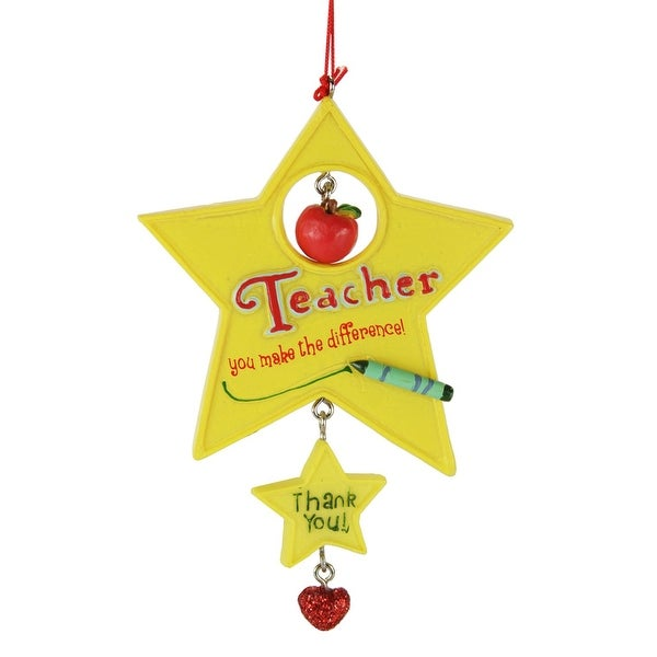 "5"" Gold Star ""Teacher You Make the Difference! Thank You!"" Christmas Ornament - YELLOW"