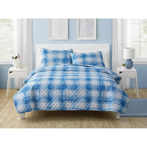 Olivia & Finn Ryan Blue Plaid Quilt Set