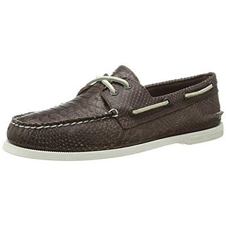 Sperry Mens A/O 2 Eye Python Leather Textured Boat Shoes - 10.5 medium (d)
