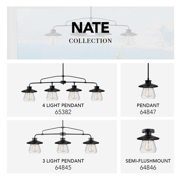 """Globe Electric 64847 1 Light 8"""" Wide Pendant with Clear Glass Shade - Oil Rubbed bronze"""