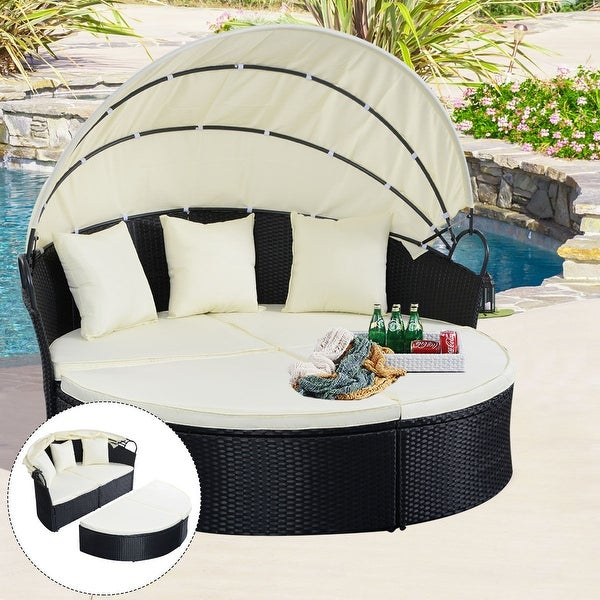 Gentil Costway Outdoor Patio Sofa Furniture Round Retractable Canopy Daybed Black Wicker  Rattan