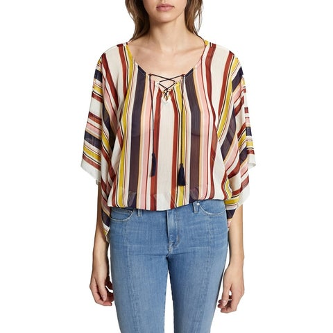 Sanctuary Red Womens Size XS Lace Tie Poncho Striped Blouse Top