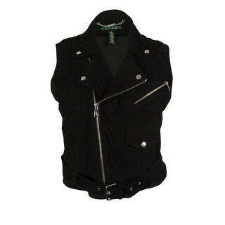 Ralph Lauren Women's 100% Goat Leather Moto Vest - Black - 16
