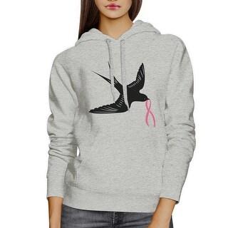 Pink Ribbon Swallows Birds Unisex Hooded Sweatshirt Cancer Support