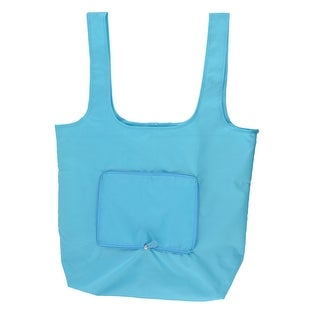 Nylon Rectangle Shaped Shoulder Hand Carrier Foldable Shopping Bag Sky Blue