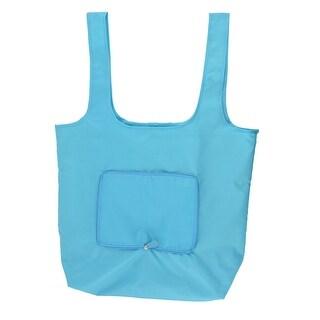 Nylon Rectangle Shaped Shoulder Hand Carrier Foldable Shopping Bag Sky Blue