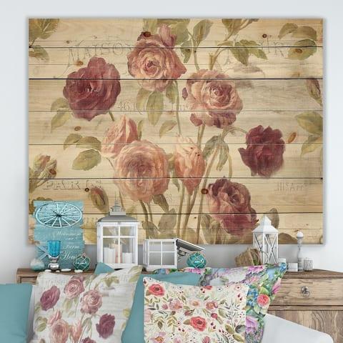 Designart 'French Roses I' Farmhouse Print on Natural Pine Wood - Grey