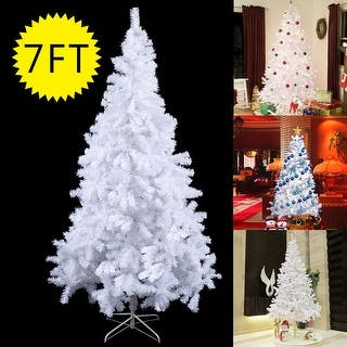 costway 7ft artificial pvc christmas tree wstand holiday season indoor outdoor white - White Christmas Trees On Sale