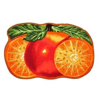 Orange Printed Non-Slip Kitchen Mat, 18x30 Inches