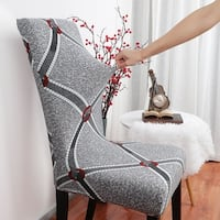 Stretch Washable Short Dining Room Chair Protector Cover