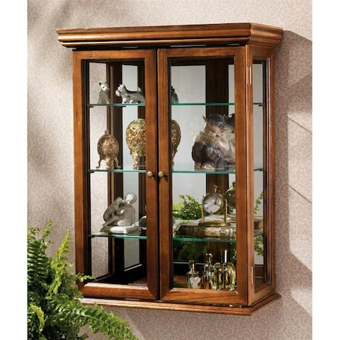 Design Toscano Country Tuscan Hardwood Wall Curio Cabinet: Walnut Finish - 20 x 7.5 x 26