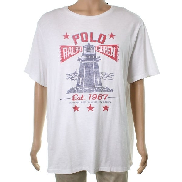40b31645 Shop Polo Ralph Lauren White Mens Size 2XL Lighthouse Graphic Tee T-Shirt -  Free Shipping On Orders Over $45 - Overstock - 22049537
