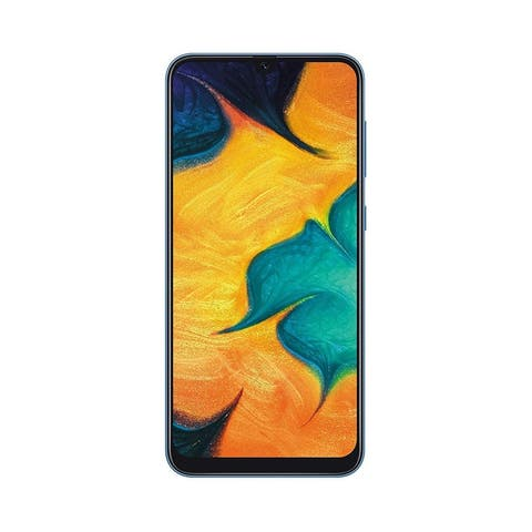 Samsung Galaxy A30 64GB 4GB RAM 4G LTE Single SIM GSM International Model with 64GB MicroSD Bundle Blue