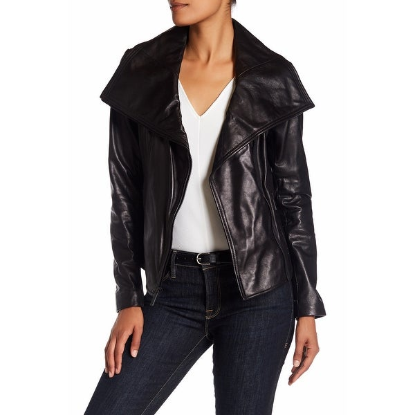MICHAEL Michael Kors Leather Large Wing Collar Jacket Black