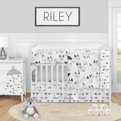 Woodland Fox Collection Boy or Girl 5-piece Nursery Crib Bedding Set - Black and White Forest Animal