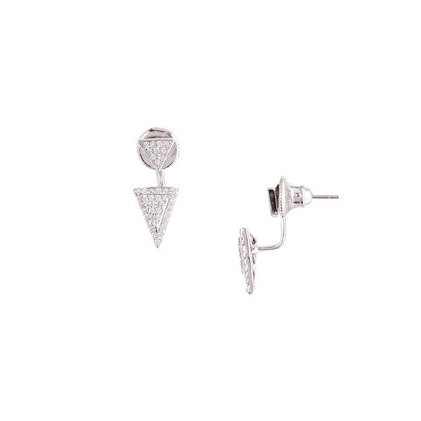 925 Sterling Silver Double Triangle Ear Jacket with Cubic Zirconia