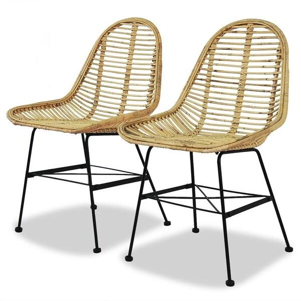 vidaXL Dining Chairs 2 pcs Natural Rattan. Opens flyout.