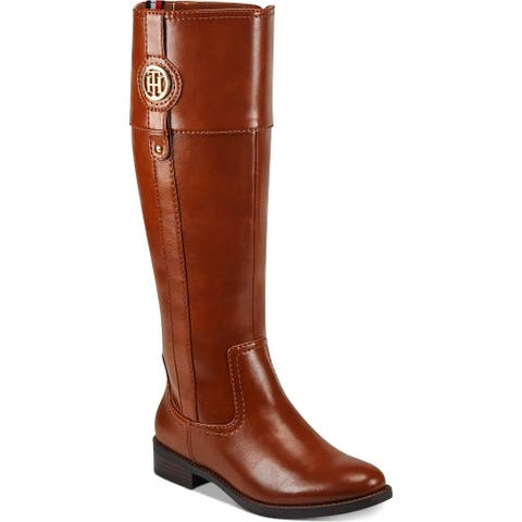 Tommy Hilfiger Womens Imina Riding Boots Faux Leather Knee-High