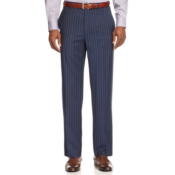 Sean John Navy Blue and White Pinstripe Dress Pants Trousers Flat Front