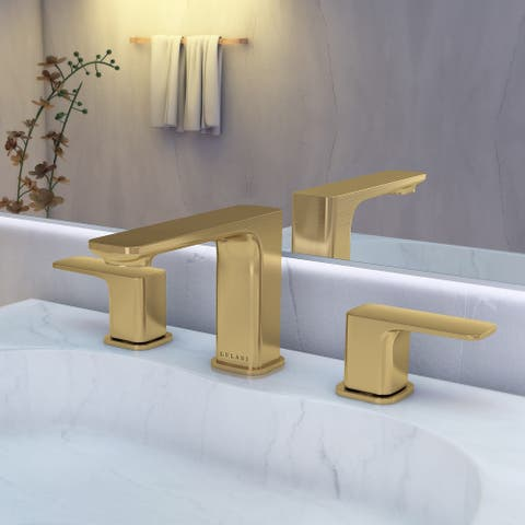 Corsica Collection. Widespread bathroom faucet. Champagne Gold finish. By Lulani