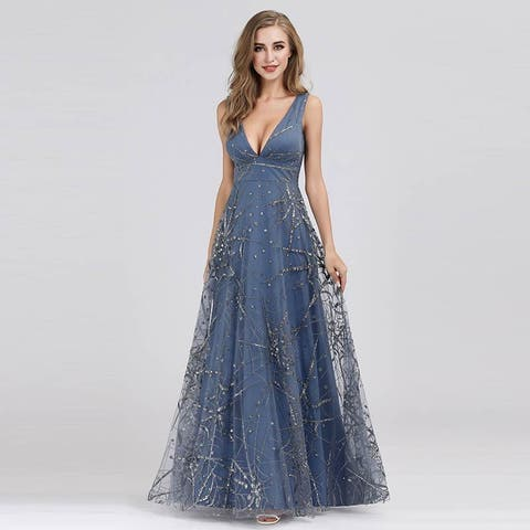 Ever-Pretty Womens Shimmery V-Neck Long Evening Prom Party Dress for Women 07860