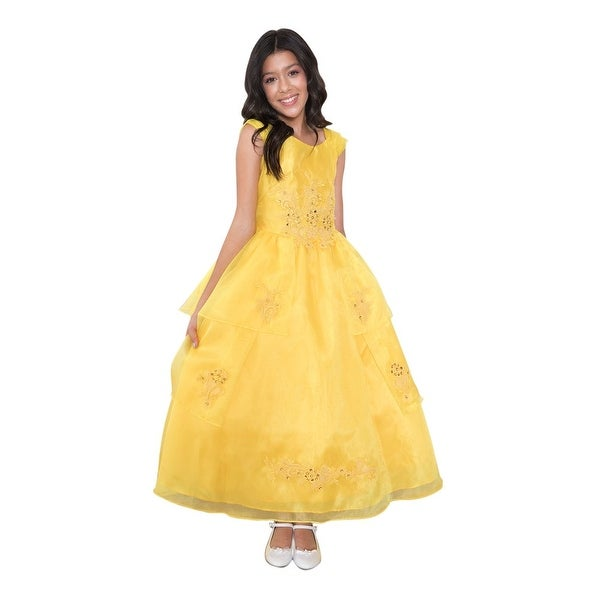 8e73189c2b57 Calla Collection Little Girls Yellow Organza Lace Trim Flower Girl Dress