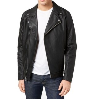 Calvin Klein Black Mens Size 2XL Full Zip Faux-Leather Jacket