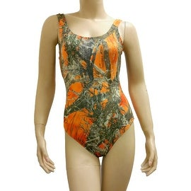 Women's Orange Camo Bikini 1-Piece Swimsuit True Timber Beach Swimwear
