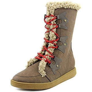 XOXO Womens ANDY Leather Round Toe Mid-Calf Cold Weather & Shearling