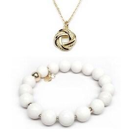 White Jade Bracelet & Key Love Knot Gold Charm Necklace Set