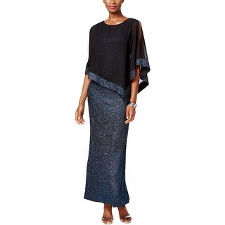 MSK Womens Semi-Formal Dress Poncho Overlay Glitter