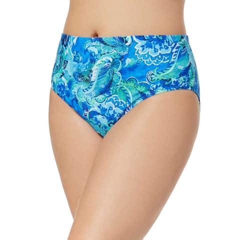 Ralph Lauren Women Plus Size High-Waist Bikini Bottom LR8FJ99W - Blue Exotic Paisley - 16W