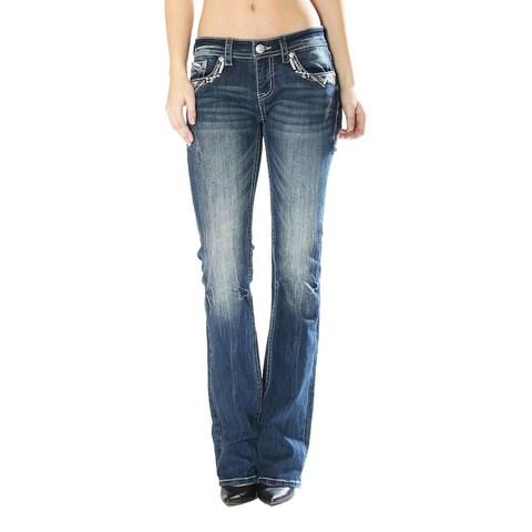 Grace in LA Denim Jeans Womens Bootcut Odette Dark Wash