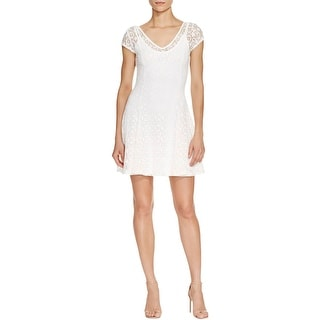 Aqua Womens Party Dress Lace V-Neck