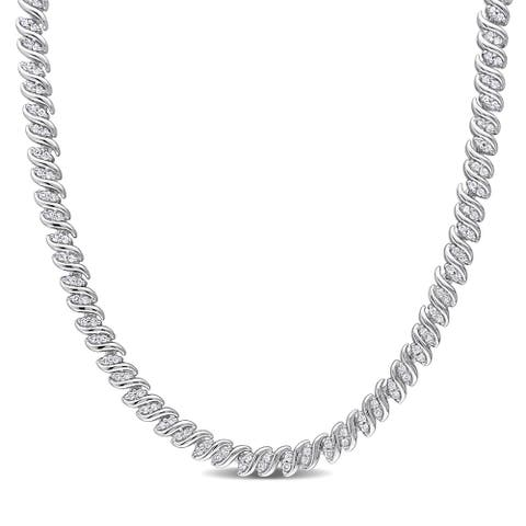 Miadora Sterling Silver 2ct TDW Diamond S-link Tennis Necklace