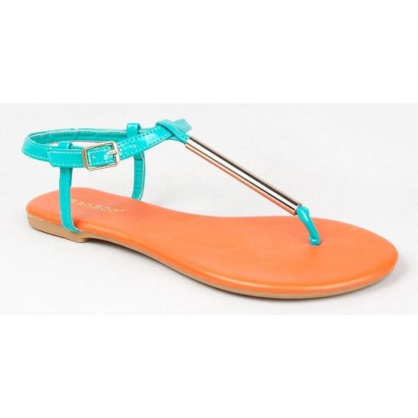 Bamboo Women Macalen-06 T-Strap Flat Sandals