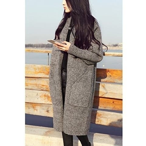Winter Casual Loose Long Pocket Wool Knitted Sweater Cardigan Coat - one size