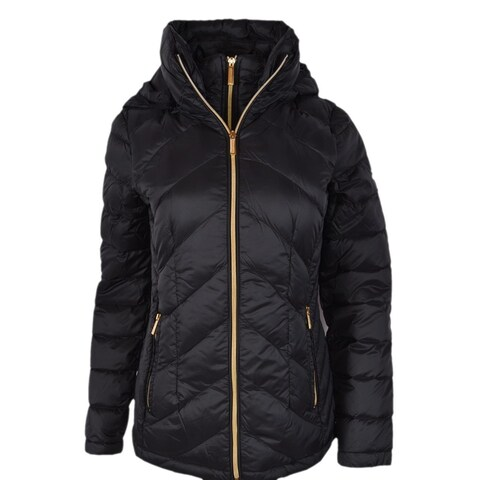 Michael Kors Women's Black Quilted Nylon Packable Hooded Down Puffer Jacket