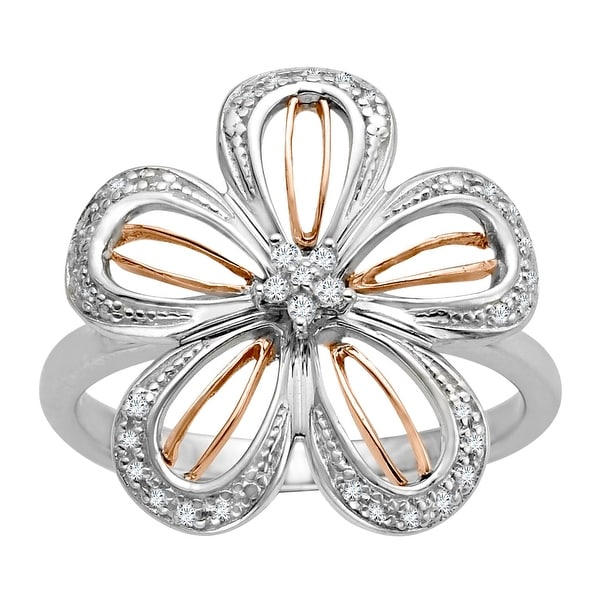 1/8 ct Diamond Flower Ring in Sterling Silver and 14K Pink Gold