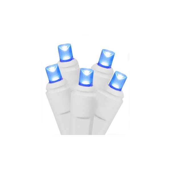 Set of 50 Blue Commercial Grade LED Wide Angle Christmas Lights - White Wire