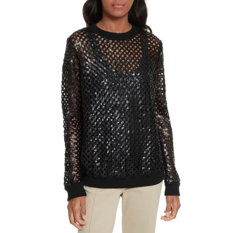 Tory Burch Black Women's Size Small S Sequin Pullover Wool Sweater