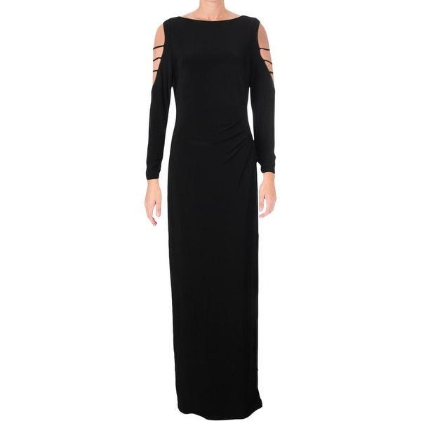 Lauren Ralph Lauren Womens Eugenette Evening Dress Beaded Long Sleeve